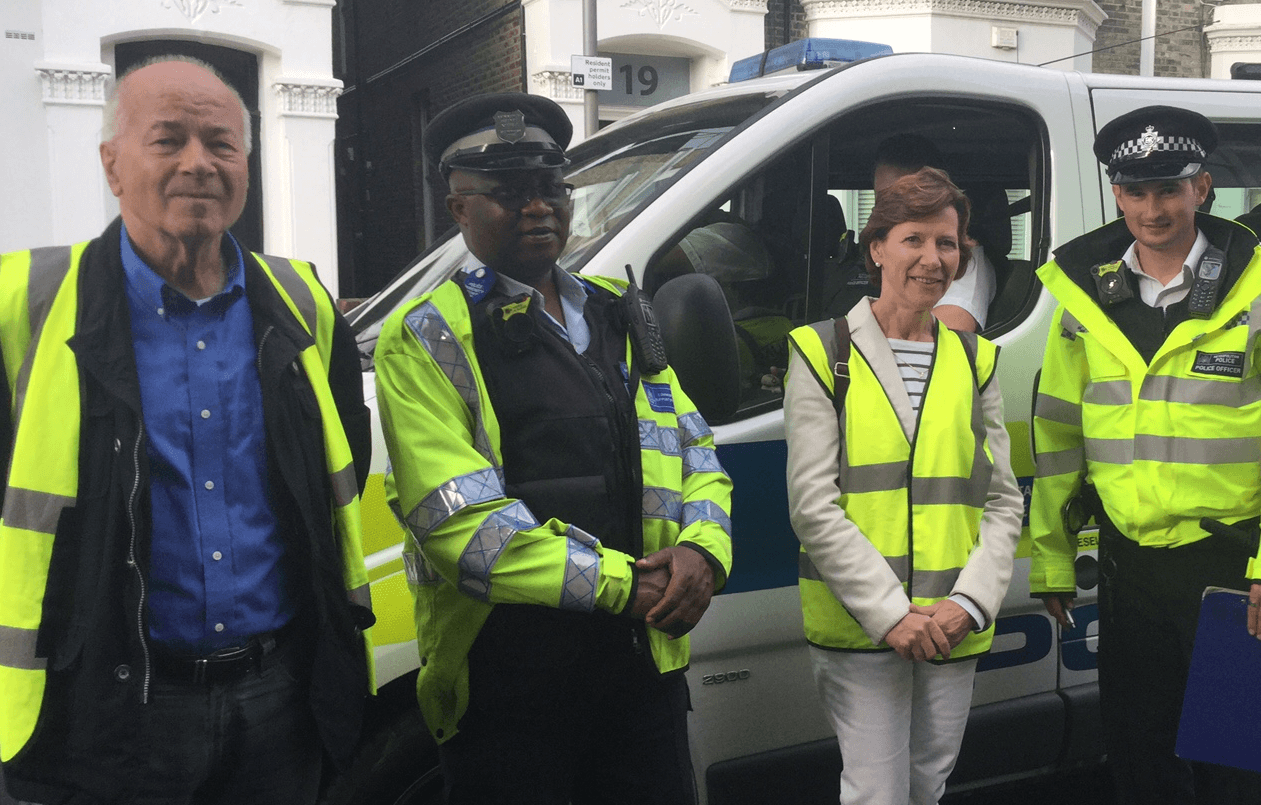 Cllr. Mike Ryder and Cllr. Rosemary Torrington with our Met police team